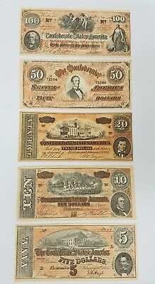 Lot of confederate banknote money facsimile bills 1864 $100, $50,$ 20, $10 $5
