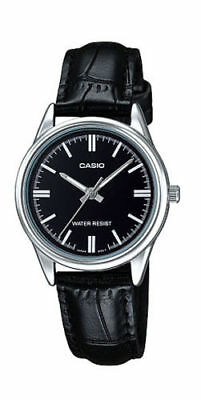 NEW Casio LTP-V005L-1A Women's BLACK Leather Watch Analog Dial Silver-tone Case