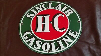 Vintage Sinclair Gasoline Porcelain Hc Gas Oil Service Station Pump Plate Sign