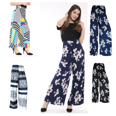 Ladies Womens Floral Print Elasticated Plazzo Trousers Lounge Pants Size 8 -26