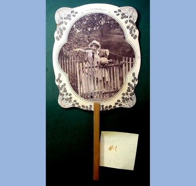 1911 antique ADVERTISING HAND FAN~OXFORD PA~Wm. BURLING plumbing & tin work #1