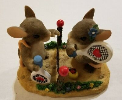 Charming Tails Fitz Floyd Two Love Tennis Mice Figure Figurine