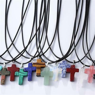 Natural Quartz Crystal Stone Chakra Healing Gemstone Cross Pendant Necklace