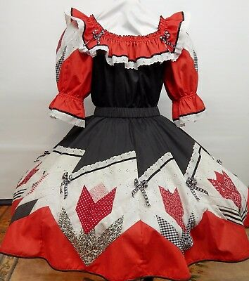 2 Pc Black,white And Red Tamarisk Square Dance Dress