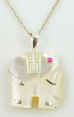 White MOP Red Ruby Elephant Sterling Silver Pendant Chain Necklace
