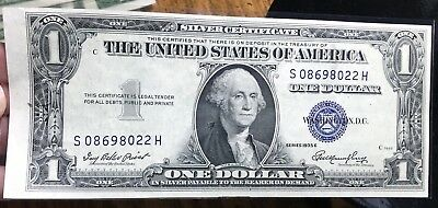 1935 E $1 Dollar Bill Old Us Paper Money Currency Blue Seal Collector Note.8022H