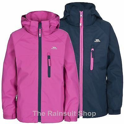 TRESPASS GIRLS WATERPROOF RAINCLOUD  HOODED RAIN JACKET COAT KIDS CHILDS 5-12yrs