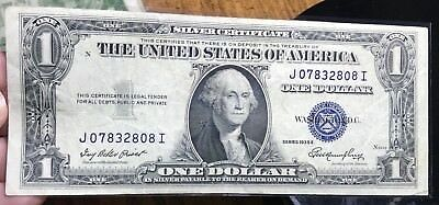 1935 E $1 Dollar Bill Old Us Paper Money Currency Blue Seal Collector Note.2808I