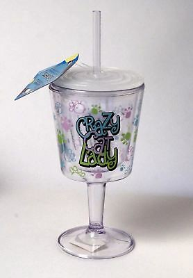 """CAT LOVERS! """"CRAZY CAT LADY"""" DOUBLE-WALLED REUSABLE GOBLET by SPOONTIQUES NEW"""