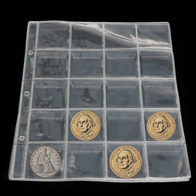 1 Sheet 20 Pockets Plastic Coin Holders Storage Collection Money Album Case New
