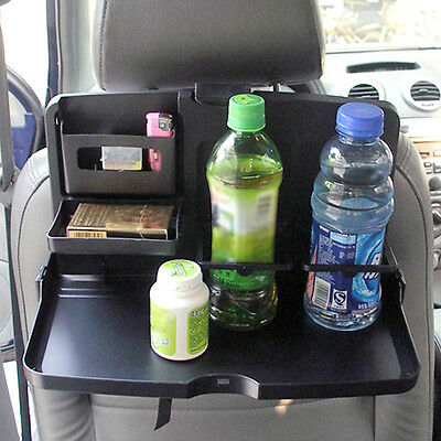 NEW Folding Auto Car Back Seat Table Drinks Cup Tray Holder Stand Desk Black