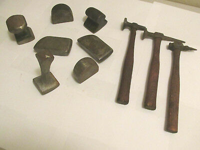 (10) Lot of Vintage Mechanic USA AUTO BODY TOOLS Dollies & Hammers