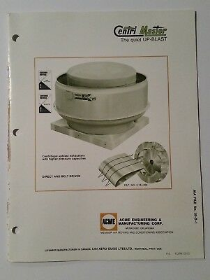 Acme Engineering & Manufacturing Centri Master Exhaust Fans Asbestos Brochure