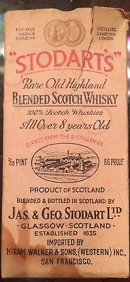 Stodart's Rare Blended Scotch Whisky Sealed April 5, 1932 10th pt. ConEvaporated