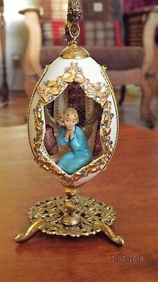 ANGEL FIGURINE Inside EGG w/ STAINED CHURCH WINDOW Easter Artist Signed