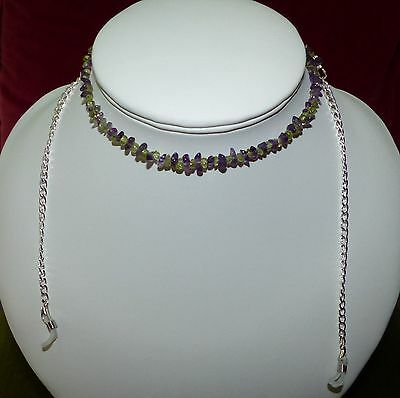 spectacle glasses sunglasses cord chain necklace real ametrine,amethyst silver