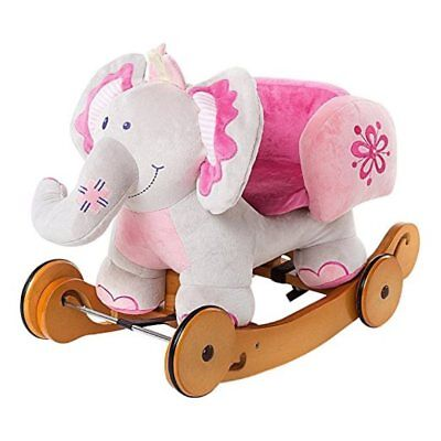 Labebe Child Rocking Horse Toy Pink Plush 2 in 1 Elephant Rocker with Wheel for