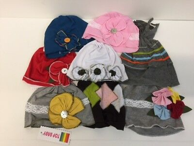 Baby Girls Hats x 8 assorted colours job lot pink red summer bonnets