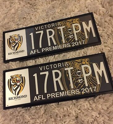 2017 Richmond Tigers Premiership Number Plates