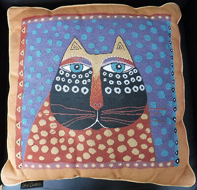 """Laurel Burch Colorful Cat Face Tapestry Throw Pillow Sofa Cushion 18"""" Square"""