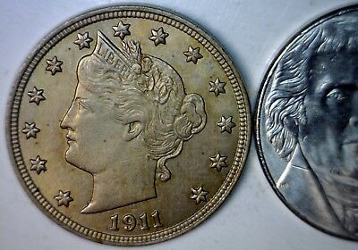 1911 BU + Toned Liberty Nickel Coin NICE EVEN GOLD TONE Lot #1   NO RESERVE