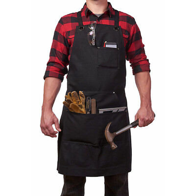 Practical Unisex Men Canvas Work Apron W/ Utility Tool Pockets Heavy Duty Waxed