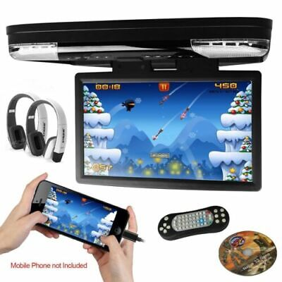 """15.6"""" DVD Player In Car Roof Mount Flip down Monitor 32 Bits Games USB SD AUX"""