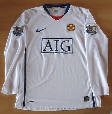 Manchester United Away Trikot 2007/2008 Langarm Größe M Inclusiv Meister-Patches