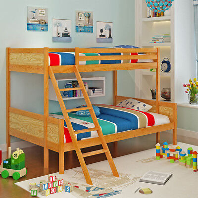 Natural Wooden Bunk Beds Solid Pine Wood Frame Bedroom Single Double