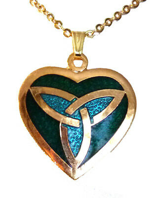 Enamel and Gold Plated Green Heart with Celtic Trinity Pendant Necklace 7858
