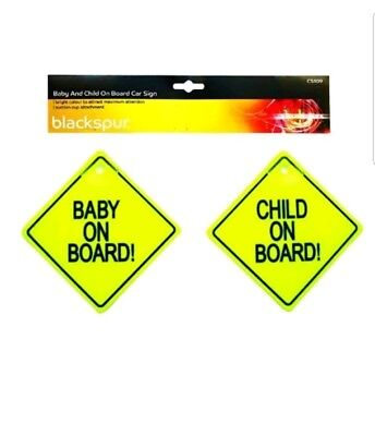 Twin Pack Baby & Child On Board Sign Suction Cup Travel Uk Seller