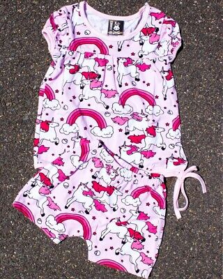 Six Bunnies Rainbows Short Pyjama Set Baby Sleepwear Unicorn Pink Cute Sweet Fun