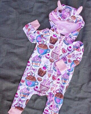 Six Bunnies Cupcakes Zippy Playsuit One Piece Romper Sweet Pink Cute Cool Baby