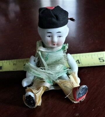 """Vintage Bisque 4"""" Boy Doll Miniature Japanese Asian Oriental Jointed"""