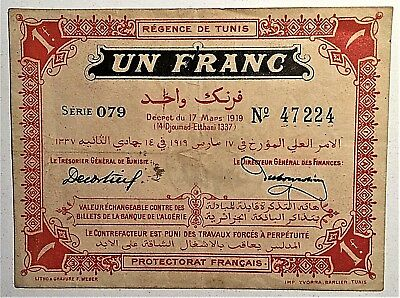 TUNISIA TUNIS 1 (UN) FRANC FRANCE PROTECTORATE (BANK of ALGERIA) 1919 PICK# 46b
