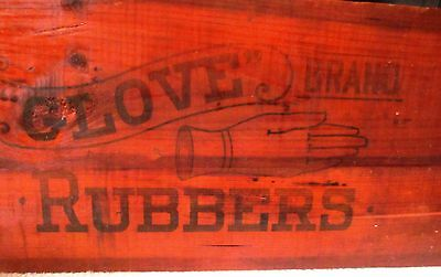"Antique Primitive Wood Wooden GLOVE RUBBERS  SIGN 29 X 12"" - Very Good"