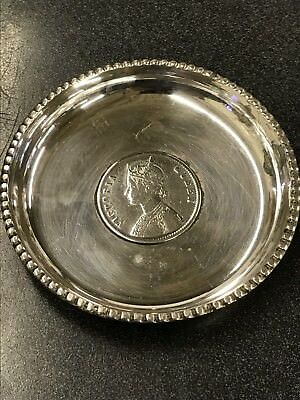1862 Queen Victoria One Indian Rupee Silver Coin Dish