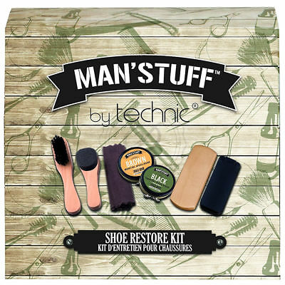 Man'Stuff Shoe Restore Kit - Dad Present Gift Set Shoe Shine Cloths Fathers Day