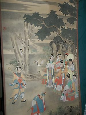 vintage CHINESE LITERATI PAINTING SILK WATERCOLOR INK WALL SCROLL Marco Polo ?