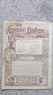 1892 The Great Divide Newspaper-Creede Colorado Mining & Mines-Natives-Cowboys