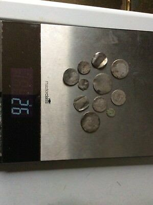 A Lot Of Low Grade Metal Detected Silver Love Tokens & Coins  26 Grams