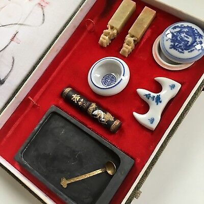 Traditional Chinese Calligraphy Set tool box Japanese Vintage Seal Black Ink