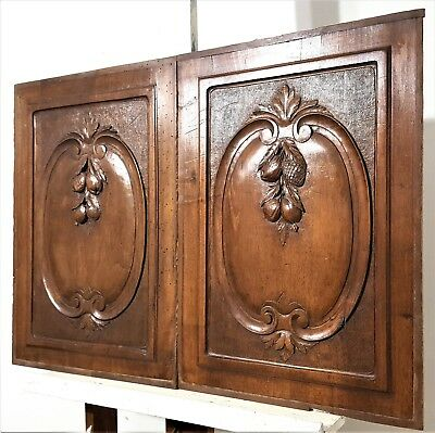 Pair Hand Carved Wood Panel Antique French Fruit Medallion Architectural Salvage