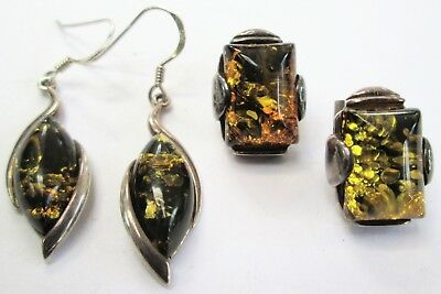 Two pairs good quality vintage sterling silver & amber earrings