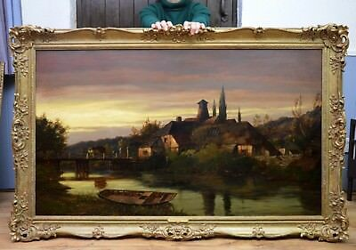 Very Large Fine Original Antique 19thC Oil Painting of Moonlit River Landscape
