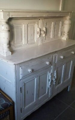 Beautiful shabby chic large solid oak painted Welsh dresser/sideboard/cupboard