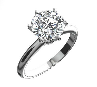 3 Ct Round Cut Diamond Solitaire Engagement Promise Ring in Solid .950 Platinum
