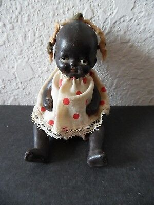 Antique Black Baby Doll With Original Clothes Made in Japan 4 Inch Clay/Ceramic?