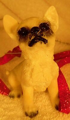 Dog Figurine Christmas Ornament CHIHUAHUA Sitting Cream ADORABLE