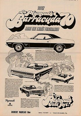 ad  french newspaper   1970 PLYMOUTH BARRACUDA  FURY  DUSTER  SATELLITE